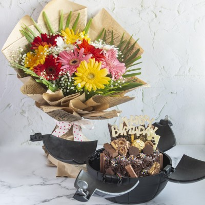 Chocoholics Overloaded Cake In A Bomb Shell With Birthday Topper And Gerbera Hand Bouquet