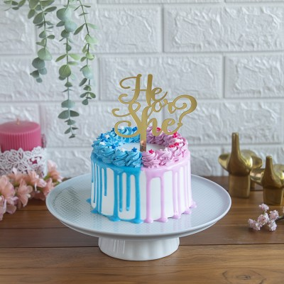 Pink And Blue Frosting Cake with He or She topper 750gms