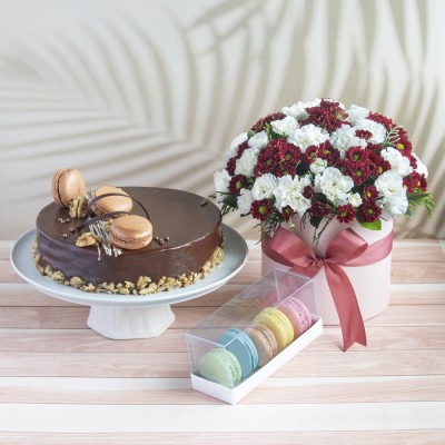Saint Domingo Caramel And Walnut  Cake With Box of Chrysanthemum and White Spray Carnations with Box Of 5 Macroons