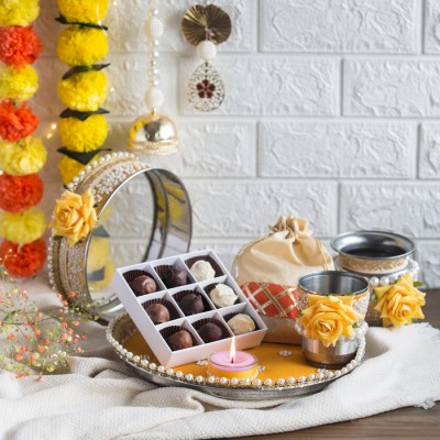 Karwa Chauth Pooja Set with Box of 9pcs Chocolate Truffles And Flavored Almonds