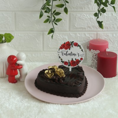 Heart Shape Dutch Truffle cake 500gms with valentines floral topper