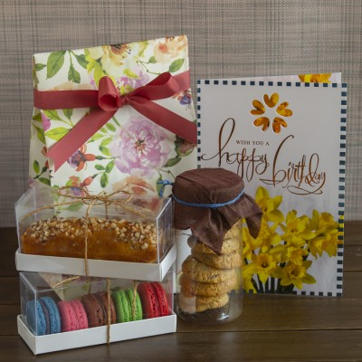 Multigrain cookies ,almond bar cake ,box of 5 Assorted Macarons  and a Birthday card [Contains Egg]