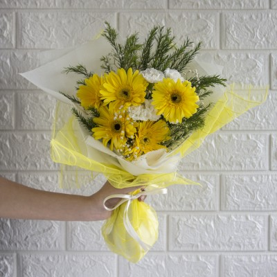 Hand Bouquet Of Yellow Gerberas with White Spray Carnation and Baby Breath