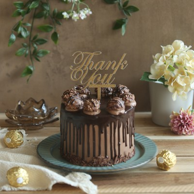 Ferrero Rocher Chocolate cake  750 with Thank you  topper