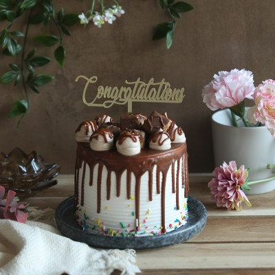 Chocolate snickers cake 750gms with congratulations topper