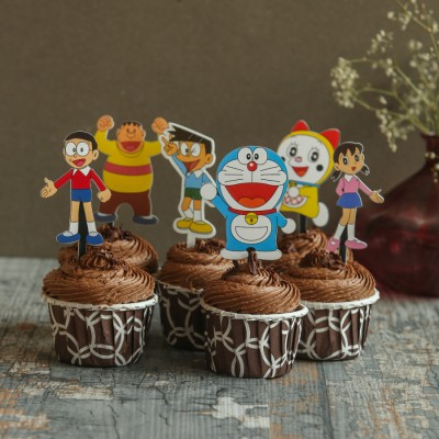 Chocolate Cup Cakes with Doraemon toppers