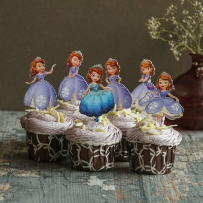 Blueberry Cupcakes with Sofia the Princess Toppers