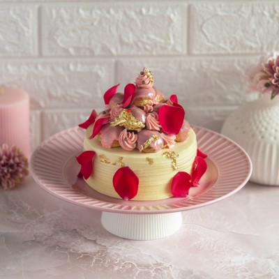 Vanilla and Rose  Overloaded Choux Buns Cake