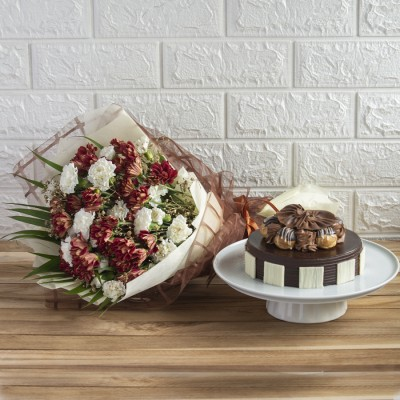 Chocolate Choux Buns Cake and Bouquet  of Chrysanthemums and Spray carnations