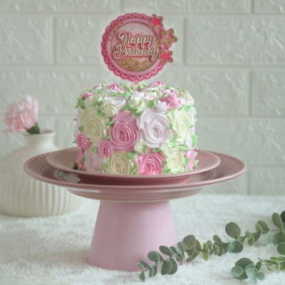 Colourful Rosette cake750gms with happy birthday pink star topper