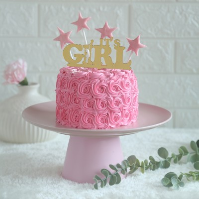 Pink Rosette cake 750gmswith its a girl topper
