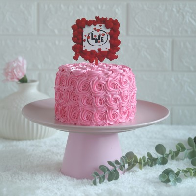 Pink Rosette cake 750gmswith love hearts in square topper