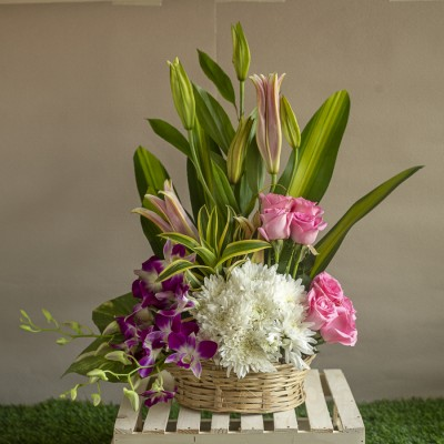 Basket of Pink Roses , White Chrysanthemums ,Orchids and Pink Lillies