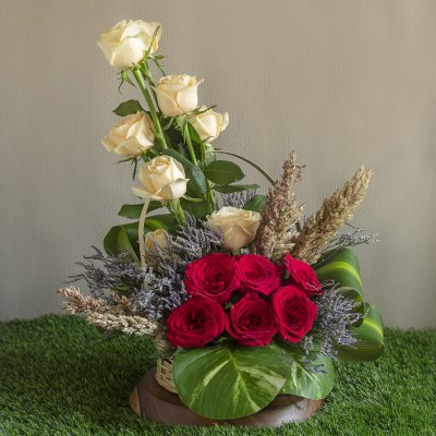 Red Roses ,Peach Roses   Broom Blooms and Lavenders in a Basket