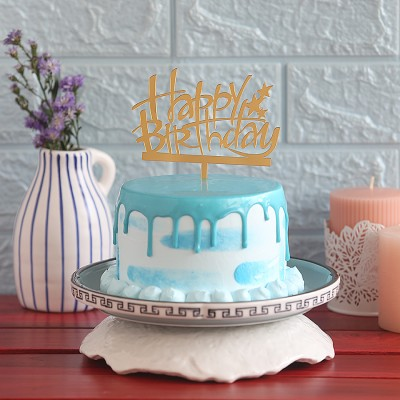 Blue Frosting Cake with Happy Birthday  Topper 750gms