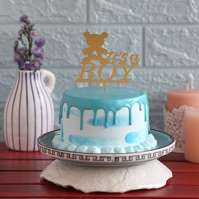 Blue Frosting Cake with Its A Boy  Topper 750gms