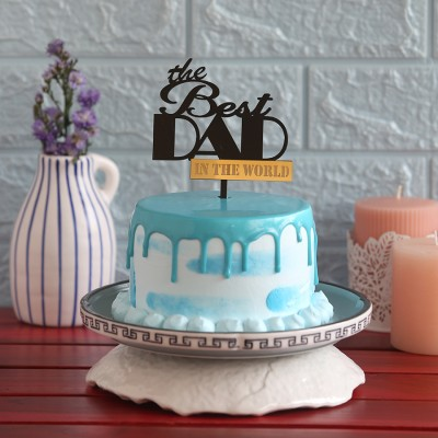 Blue Frosting Cake  750gms with the best DAD Topper
