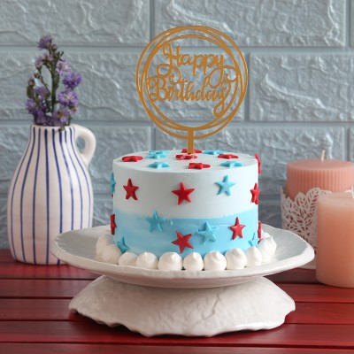 Red  and blue stars cake(750gms) with Happy Birthday round topper