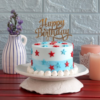Red  and blue stars cake(750gms) with Happy Birthday topper