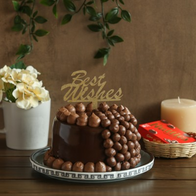 Nutties Overloaded Chocolate cake 900gms with Best Wishes topper