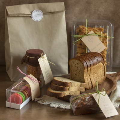 Brown Bread, Swedish Oatmeal Cookies, Italian Grissini, Cheese Straws, Honey Walnut cake(contains egg),Box of 5 assorted Macrons (contains egg)