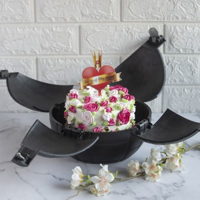 Pink And Red Floral Cake With King Of My Heart Topper In A Bomb Shell 850gms