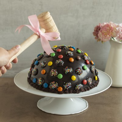 Chocolate Rainbow dome  Pinata Cake  750gms with Hammer