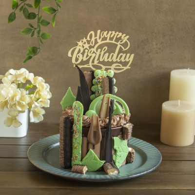 Bountiful Of Chocolates Overloaded Cake 900g with Happy Birthday topper