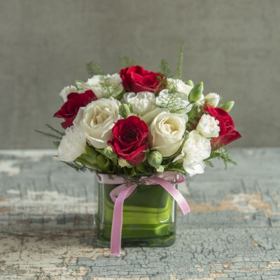 Vase of Red and White Roses
