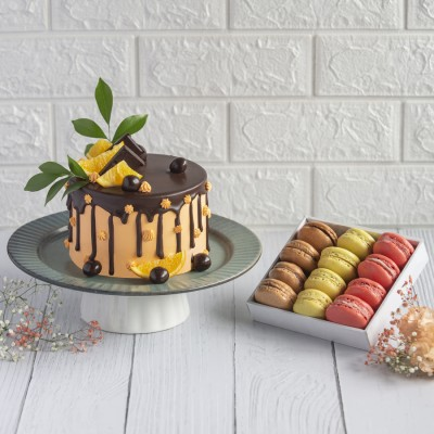 Orange And Chocolate Overloaded Cake With Box Of 12 Macroons