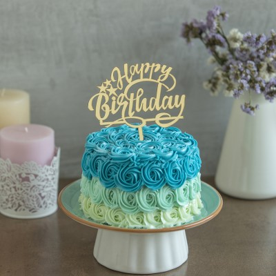 Blue Rosette Rainbow Piñata cake 750gms with Happy Birthday Topper