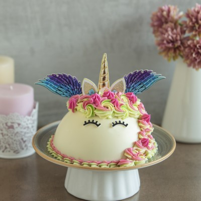 White Chocolate Rainbow Unicorn Piñata cake 750gms with Hammer