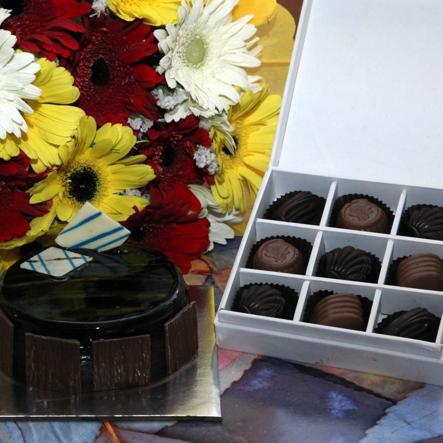 Dutch Truffle- 250 gms,hand bouquet and box  of  9 chocolate pralines