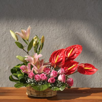 Basket Of Lillies , Roses And  Anthuriums