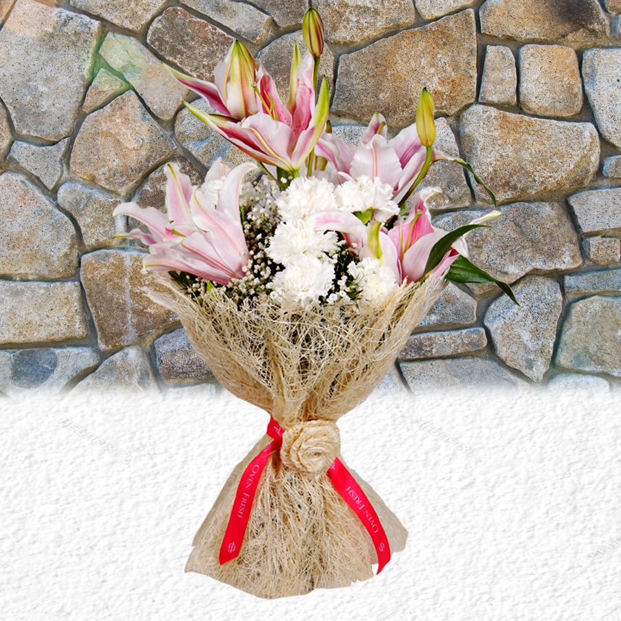 Jute Bouquet with lillies and carnations