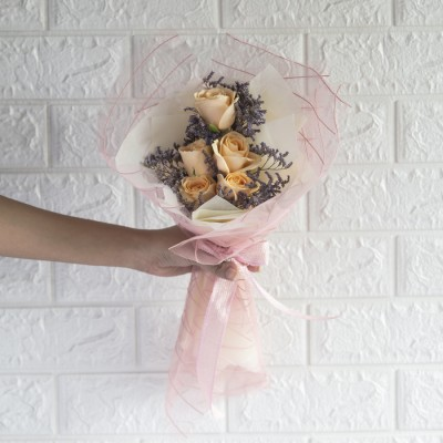 Bouquet Of Sweet Peach Roses And Limonium