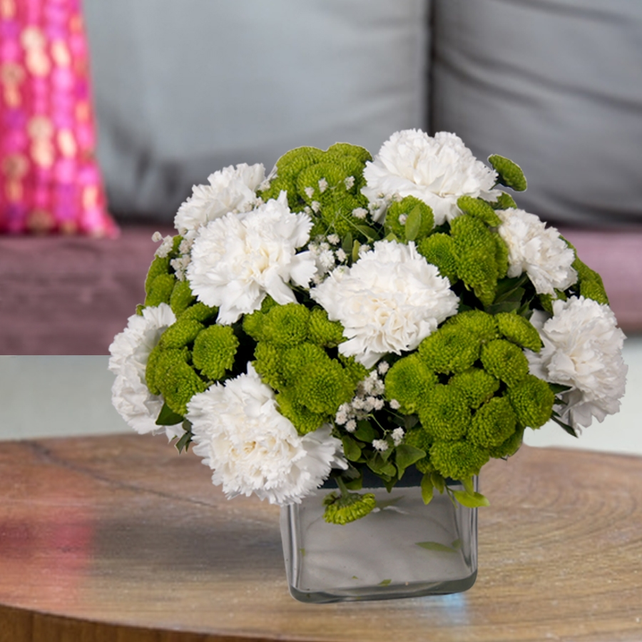 Vase of  white & Green flowers