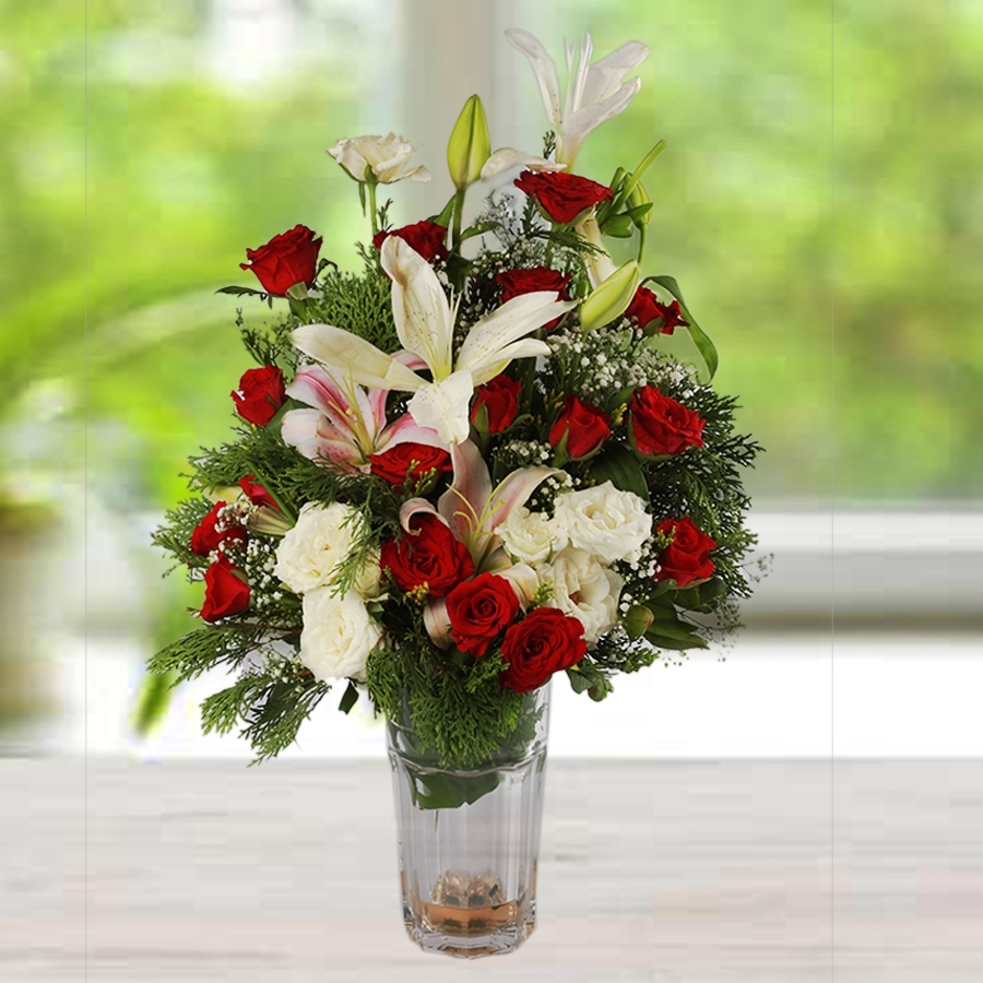 Vase Red and White Flowers