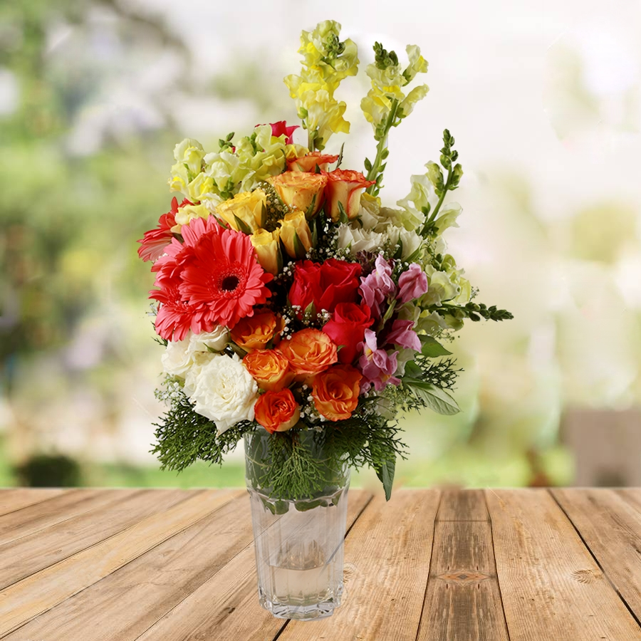 Vase with Assorted Flowers