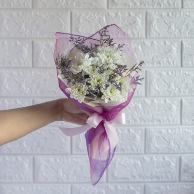 Hand Bouquet Of White Chrysanthemums And Limonium